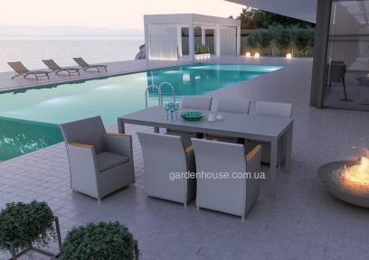 Столовый комплект садовой мебели Stone & Wood: стол и 6 кресел из алюминия и тика