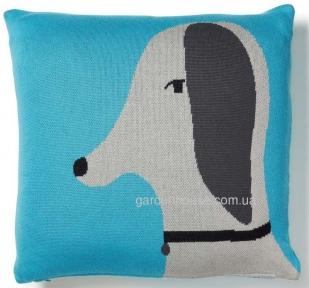 Декоративная подушка с изображением песика Banja из трикотажа 45x45 см, голубой