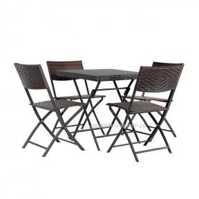 Комплект складной садовой мебели Nico из искусственного ротанга, темно-серый