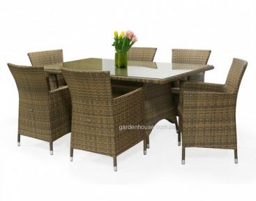 Столовый набор садовой мебели Wicker: стол 150 см и 6 кресел, капучино