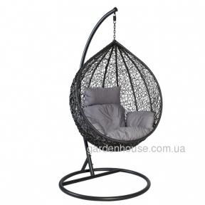Кресло-кокон Droplet из искусственного ротанга, черный