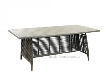 Обеденный стол Zenica из искусственного ротанга, серый