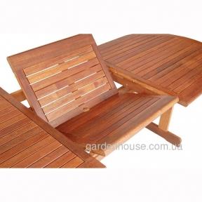Обеденный раскладной стол Matilda Oval из мербау 220/288 см