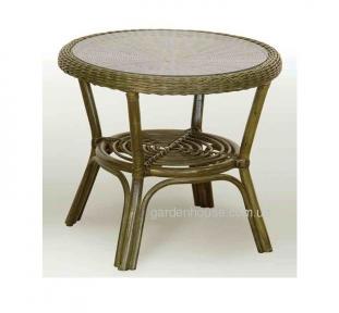 Журнальный столик из натурального ротанга со стеклом Ø 54 см
