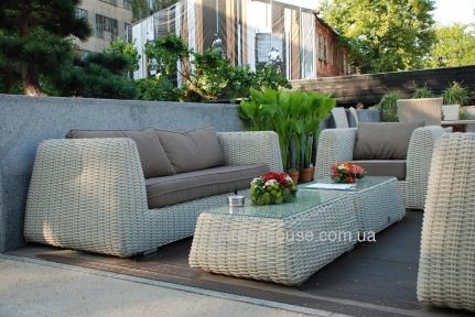 Комплект для отдыха Удин: диван, 2 кресла и кофейный столик  из искусственного ротанга, белый