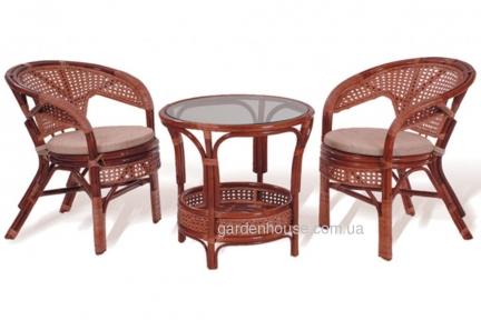 Комплект мебели для террасы: столик и два кресла из натурального ротанга
