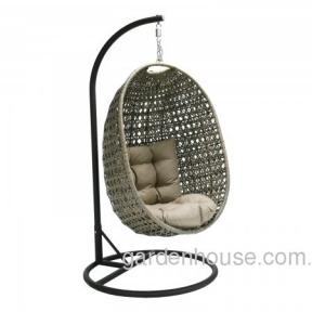 Плетеное подвесное кресло Cora из искусственного ротанга, серо-бежевый