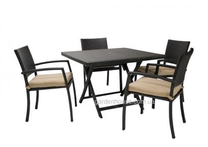 Обеденный комплект садовой мебели Stella из искусственного ротанга: стол и 4 стула с подушками