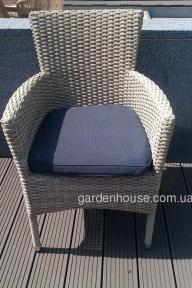 Кресло Капри из искусственного ротанга, бело-серое