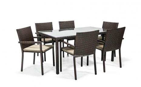 Обеденный комплект Basic из искусственного ротанга: стол и 6 стульев с подлокотниками