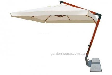 Садовый квадратный зонт XL с деревянной основой 3 м