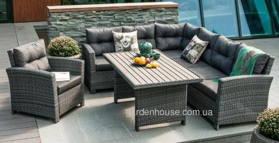 Угловой комплект садовой мебели Pavia из искусственного ротанга
