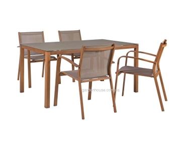 Столовый комплект садовой мебели Sailor из алюминия и текстилена, штабелируется