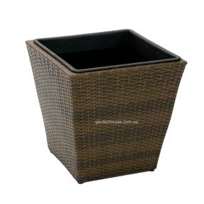 Плетеное кашпо Wicker из искусственного ротанга (45х45х43,5 см, 36х36х36 см, 27х27х28 см), коричневый