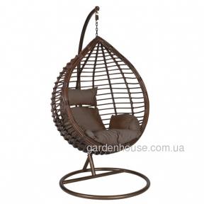Подвесное кресло Droplet из искусственного ротанга, коричневый