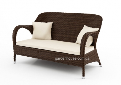 Двухместный диван Firenze из искусственного ротанга, коричневый