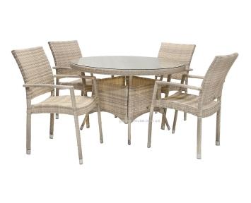 Столовый комплект мебели Wicker из искусственного ротанга: стол 120 см и 4 стула с подлокотниками