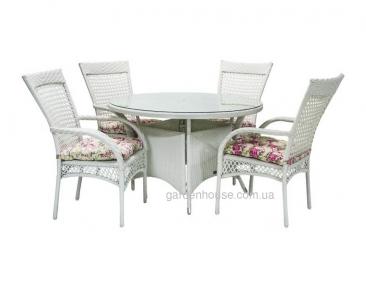 Обеденный комплект Wiker: стол и 4 стула из искусственного ротанга, белый