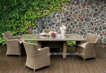Большой садовый стол из искусственного ротанга Минорка 220 см, капучино