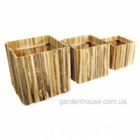 Квадратное кашпо Obi из тикового дерева (65х65х60 см, 55х55х50 см, 45х45х40 см)