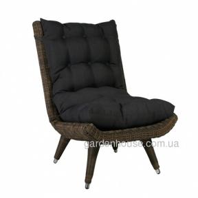 Кресло Mira из искусственного ротанга с черной текстильной подушкой