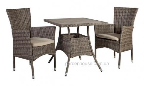 Столовый комплект Paloma из искусственного ротанга, коричнево-серый