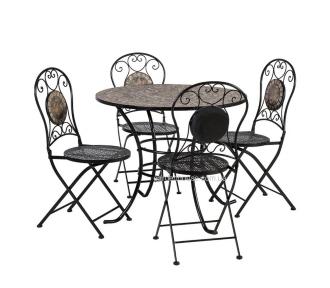 Садовый комплект столовой мебели Mosaic: стол и 4 складных стула