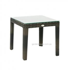 Кофейный столик Wicker из искусственного ротанга со стеклом 50xH45 см