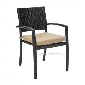 Плетеный стул с подлокотниками Stella из искусственного ротанга с подушкой