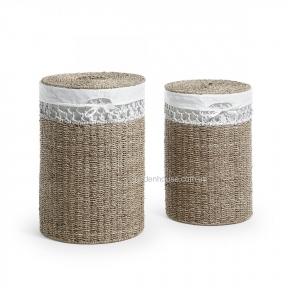 Набор из 2-х плетеных корзин Maja из натурального волокна, натуральный с белым