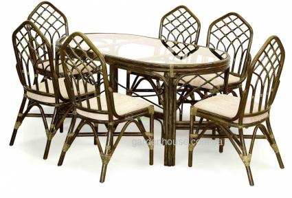 Обеденный комплект мебели на 6 персон из натурального ротанга 03/02