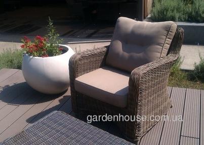 Садовое кресло с подушками Бильбао из искусственного ротанга, капучино