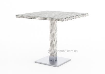 Стол Quadro из искусственного ротанга со стеклом