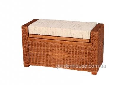 Пуф-ящик для вещей из натурального ротанга с подушкой