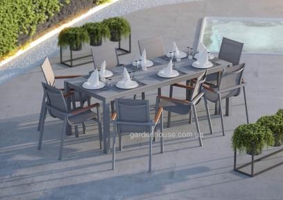 Обеденный садовый комплект Oviedo Stone & Wood: стол и 8 стульев из алюминия и тика