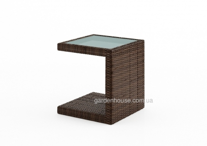 Столик к шезлонгу Romeo из техноротанга со стеклом, коричневый