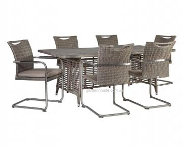Обеденный комплект Zenica & Scafa из искусственного ротанга: стол 200 см и 6 стульев с подушками