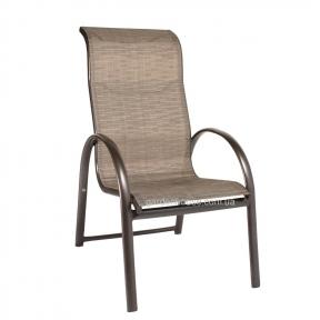 Садовый стул с подлокотниками Montreal из алюминия и текстилена, штабелируемый