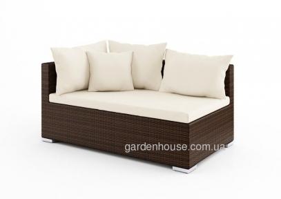Двухместный  закругленный диванный модуль Venezia Modern из техноротанга, левый