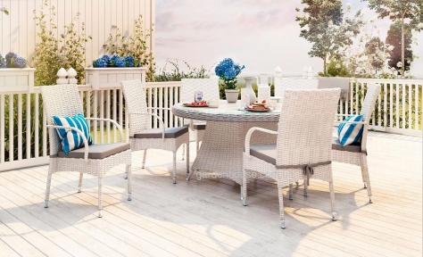 Обеденный комплект из искусственного ротанга на 6 человек: стол Rondo, стулья Tramonto