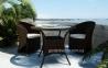 Двухместный столовый комплект Dolce Vita Modern из искусственного ротанга, коричневый