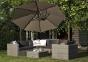 Садовый зонт с подсветкой SolarFlex T2 Ø 3,5 м + основание Modena (коричневый, антрацит)