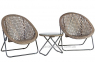 Двухместный набор складной мебели Turku из искусственного ротанга, серо-бежевый