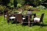 Обеденный комплект мебели Rapallo & Mona из техноротанга, коричневый