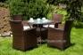 Садовый обеденный комплект Filip & Amanda из искусственного ротанга, коричневый