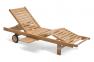 Лежак тиковый Leona с колесиками и выдвижным столиком